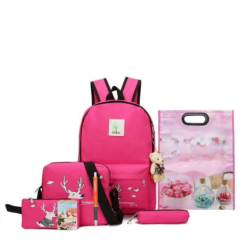 2018 nuevas mochilas escolares de gran capacidad para adolescentes de lona bolsa sólida de dibujos animados mochilas de diseñador de moda para mujeres de alta calidad