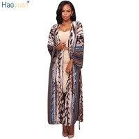 HAOYUAN Vintage Print Long Kimono Cardigan Blusas Autumn Full Sleeve Blouse Shirt Bohemian Style Ladies Plus