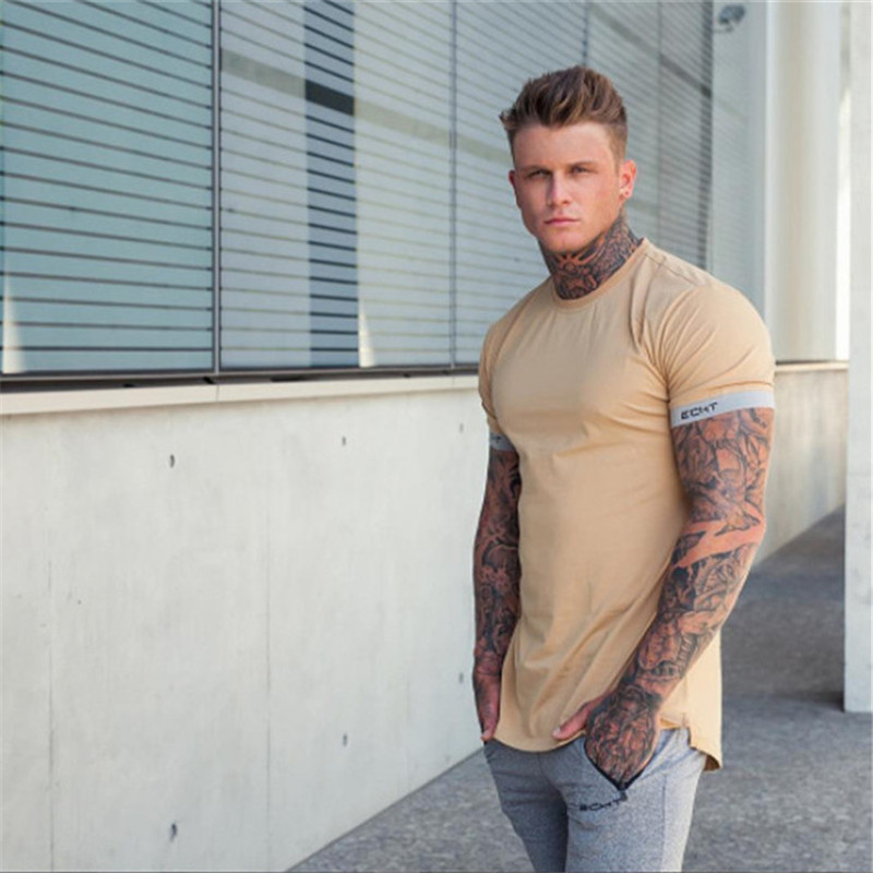 2018 Summer   T     shirt   Gyms Fitness   Shirts   Crossfit Bodybuilding Slim Fashion Leisure Male Short Sleeves Cotton Clothing Tees Tops