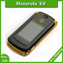 Refurbished original unlocked motorola razr v8 mobile phone Gold with 512 or 2GB internal memory luxury