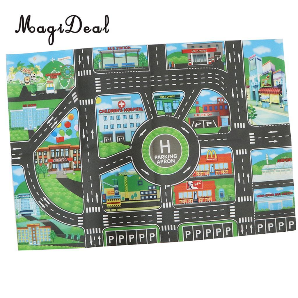 City Traffic Road Carpet Playmat Rug For Cars & Train Game Toys Baby Children Educational Play Mat For Bedroom Play Room Game #B dinosaur world jurassic park scene play mat kids