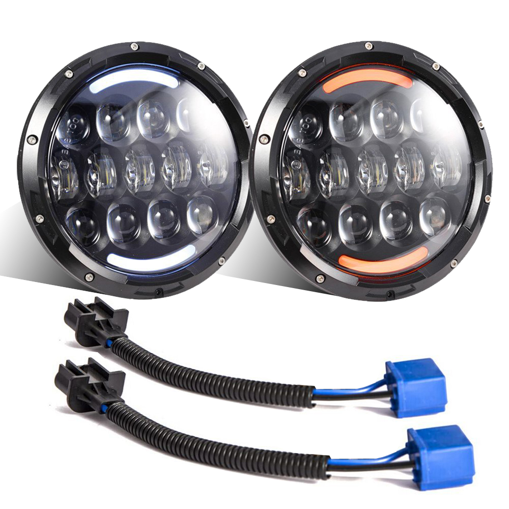2pcs 7 inch 105w Round LED Headlight white DRL amber turn signal  High Low Beam Led Chip for JEEP Wrangler Jk Tj Fj 2007-2015 1pcs 7 80w headlamp led headlight with drl for jeep wrangler jk tj fj harley off road lights high low beam new free shipping