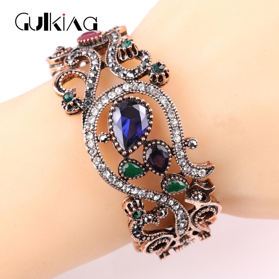 Jewelry Gold Red Acrylic Full Crystal Bracelet Retro Latest
