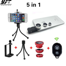 5in1 Mobile Phone Camera Kit 3in1 Lens Fisheye + Wide Angle + Macro Lenses Bluetooth Remote With Tripod For iPhone Samsung HTC