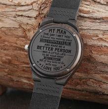 """""""Mój człowiek"""" grawerowane słowo pełna czerń męska drewno hebanowe zegarek zegar mężczyzna unikalna skóra quartz prezenty walentynkowe dla męża chłopaka"""