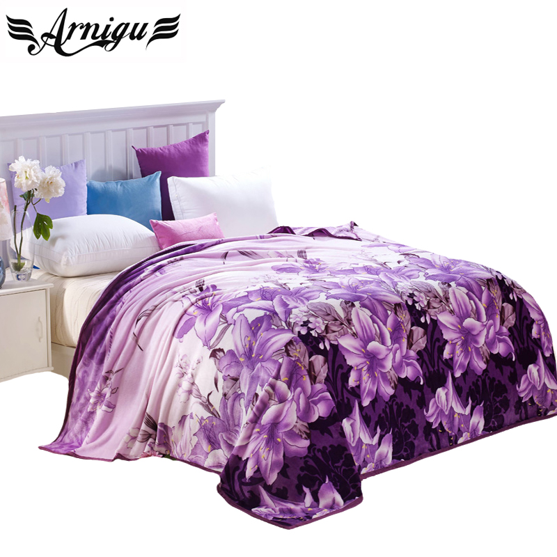 Arnigu Lily Flowers Purple Soft Blanket Fleece Bedsheet