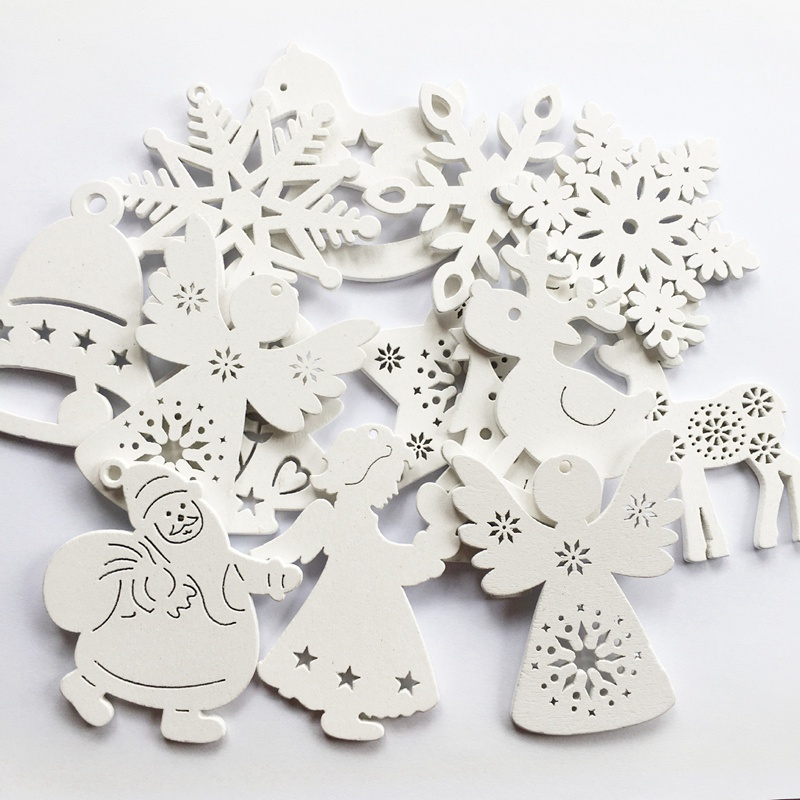 10pcs/set White Christmas Tree Ornament Wooden Hanging Pendants Angel Snow Bell Elk Star New Year Home Decorations