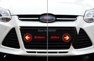 Creative Carbon Fiber Vinyl Stickers Grill Decorative Decals Shark Teeth Stickers for Ford Focus MK3 2011 2012 2013 2014