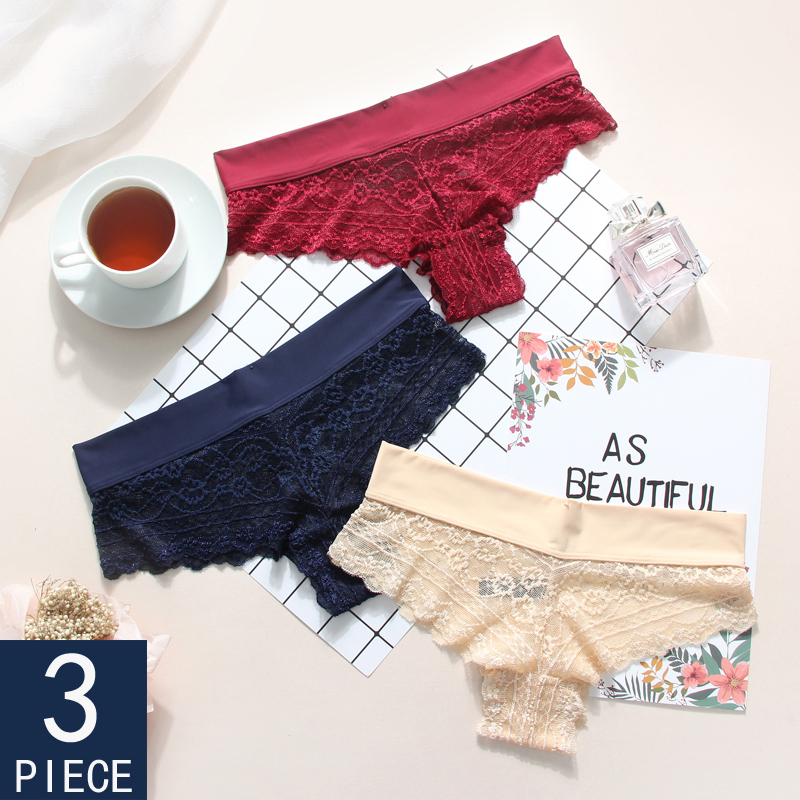 3 Pieces Lace Sexy Female Panties G-String Briefs Lingerie Low Waist Cotton Red Black White Hot Soft New T-back Underwear Woman