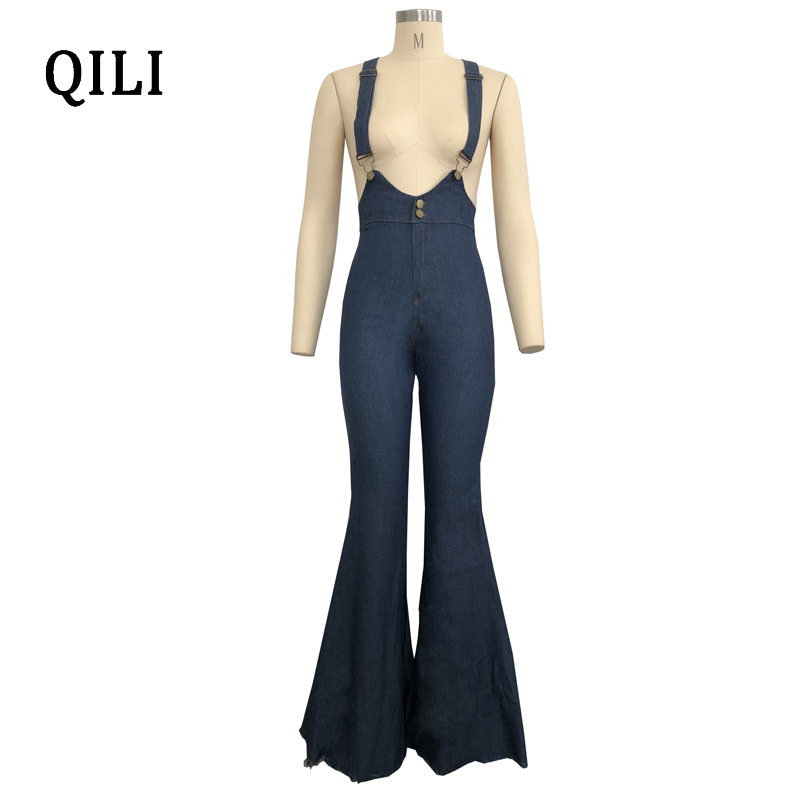 QILI Women Denim Jumpsuits Overalls Casual Style Boot Cut Long Pants Overalls Womens Fashion Strap Jumpsuit Blue Denim Overall in Jumpsuits from Women 39 s Clothing