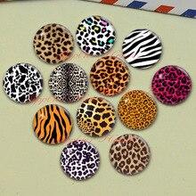 Ручная работа круглый Леопардовый принт фото Стеклянные Кабошоны, ювелирные изделия в поисках камеи подвески настройки,(F047-583