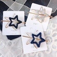 Korea Full Diamond Pentagram Starfish Hairpins  Hair Accessories Clips For Girls Crystal Hairgrips Bows Barrette