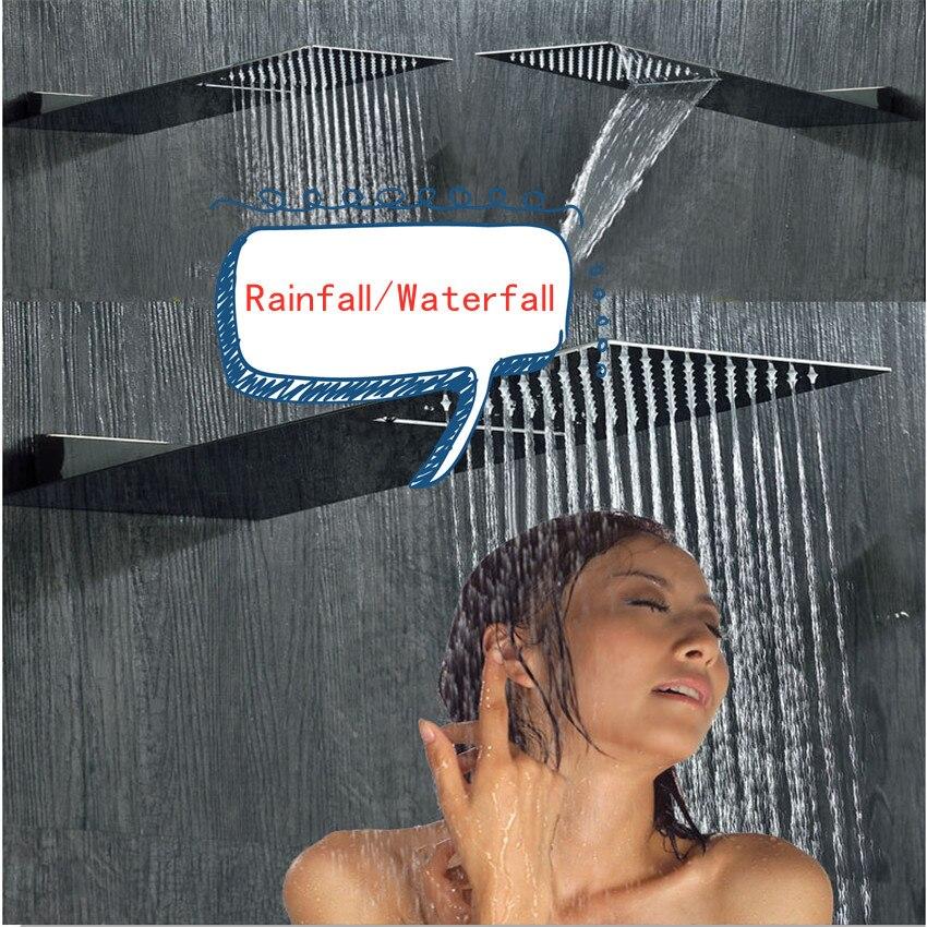 Ensemble de robinet de douche cascade pluie mince pomme de douche système de douche mural avec Spa Massage pulvérisateur robinets de salle de bains