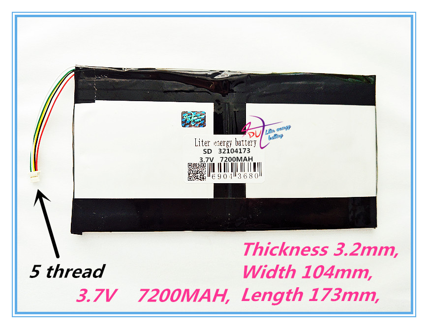 5 Thread  Best Battery Brand 32104173 3.7V 7200MAH ,(polymer Lithium Ion Battery) Tablet PC Battery , Perfect Quality Of La