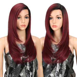 Image 3 - MAGIC Lace Front Synthetic Wigs For Black Women Middle Long 24 Soft Ombre Red Wig With Dark Roots Wavy Heat Resistant Fiber Hair