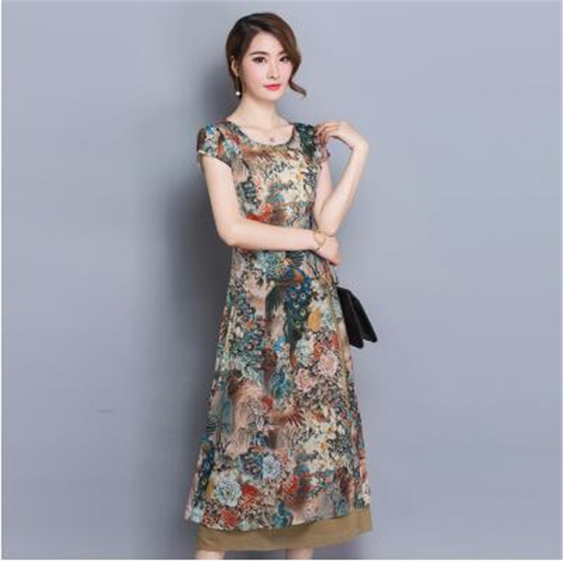 51cb8a64797 2017 Fashion women clothing new summer dress elegant printed pure silk  joining together high grade slim Long dress OK153-in Dresses from Women s  Clothing on ...