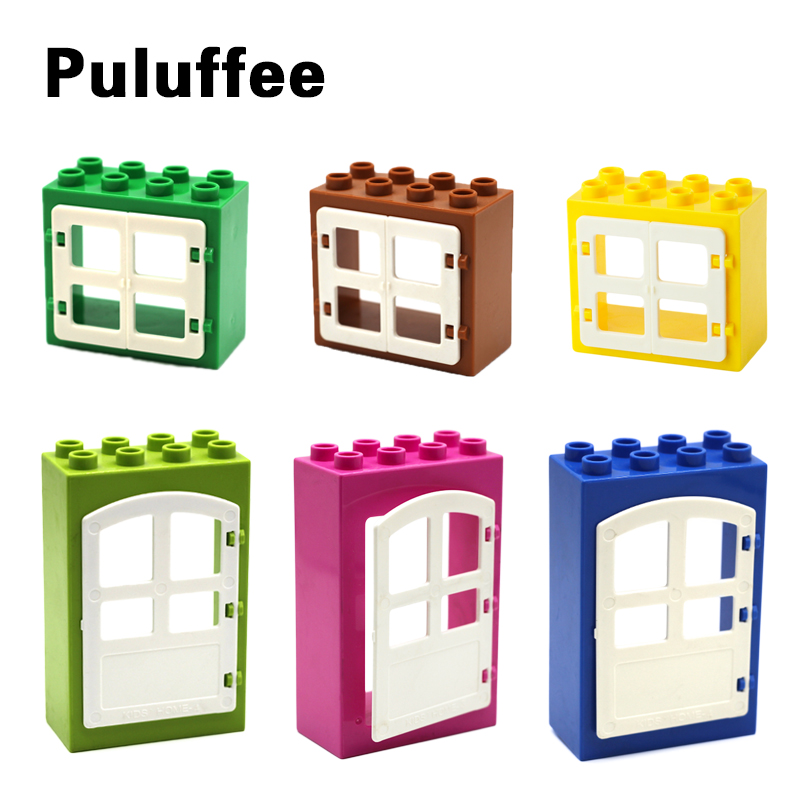 House Big Particles Building Blocks Compatible with Duplo Basics Accessory Movable Window Door Set Bricks Kids DIY Assemble Toys цена 2017