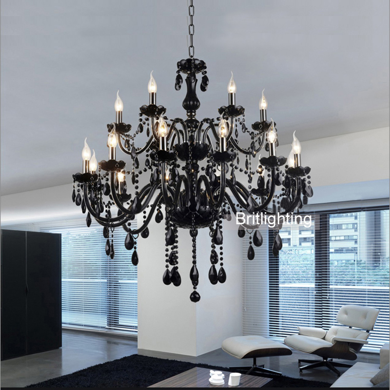 18 Lights Luxury Black Crystal Chandelier Lighting Lamp Candle Brief Fashion Living Room Lamps In Chandeliers From