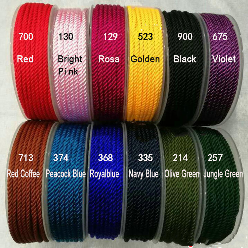 3mm Twisted Twine Milan Cord+DIY Jewelry Accessories Macrame Rope Shamballa Bracelet Necklace String Cords 7m/roll