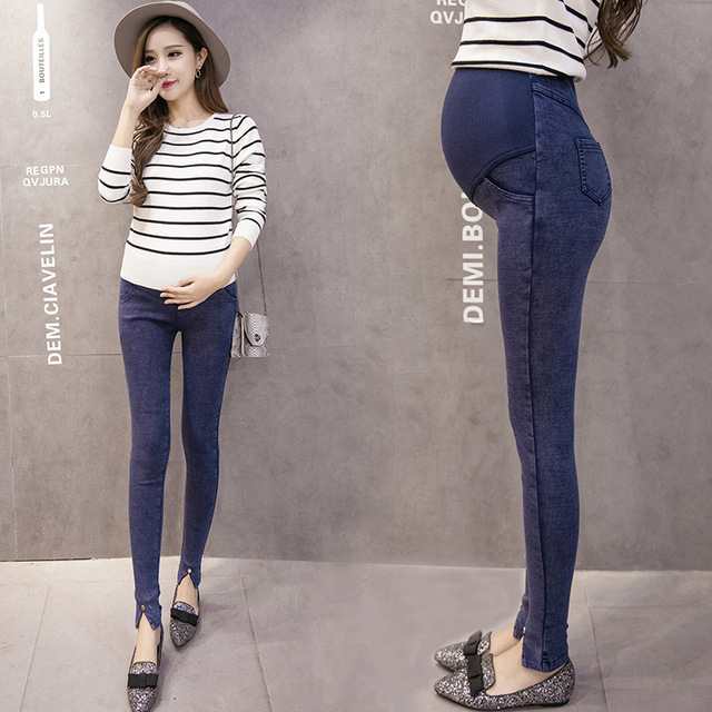 Elastic Waist Maternity Jeans Pants for Pregnancy Clothes Spring Summer 2017 New Pregnant Women Pant Maternity Plus Size PT03