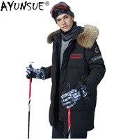 AYUNSUE 90% утиный пух куртка мужская енота меховой воротник длинное пальто зимняя куртка мужская парка Канада Стиль Veste Homme YT6107610 MY1190