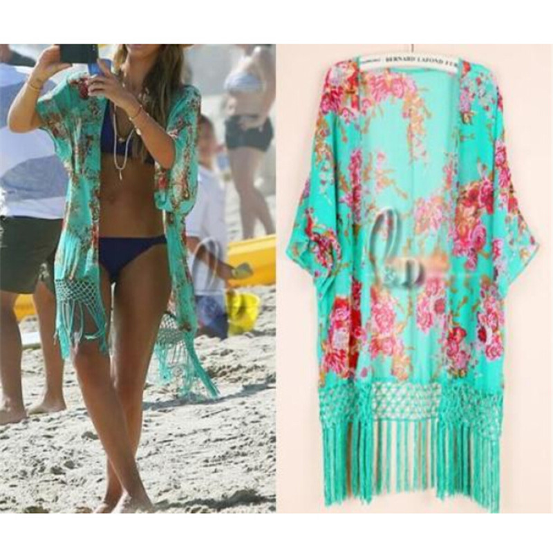 5fefdb0e9f383 2017 Summer Floral Beach Cover Up Bikini Bathing Suit Cover Ups BeachWear  Tassel Trim Swimsuit Coverup Dress Saida De Praia-in Cover-Ups from Sports  ...