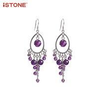 ISTONE 100 Natural Gemstone 925 Sterling Silver Amethyst Drop Earrings Purple Flower Shape Fine Jewelry Gift