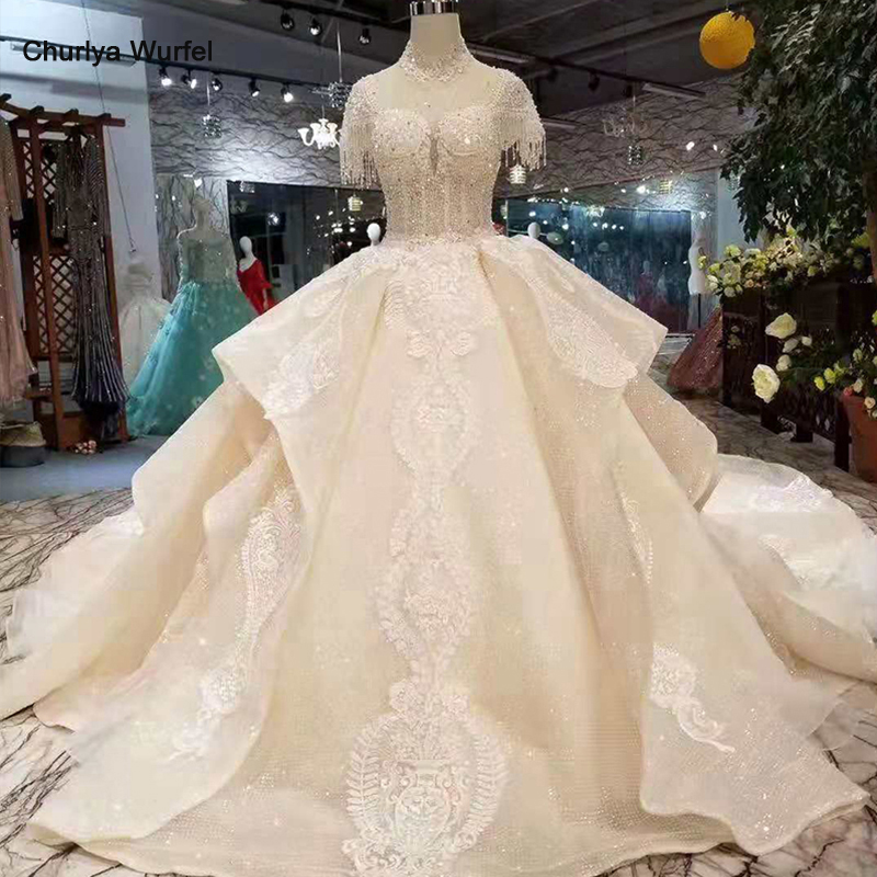 LSS256 champagne elegant wedding dresses more layer puffy skirt beaded sleeves high neck shiny train wedding gown 11.11 discount
