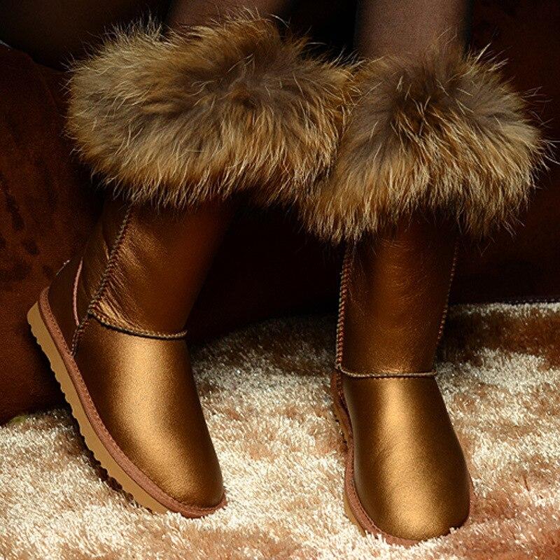 RUIYEE ladies snow boots fashion sheepskin waterproof boots wool shiny fur one-piece snow boots furry fox fur bootsRUIYEE ladies snow boots fashion sheepskin waterproof boots wool shiny fur one-piece snow boots furry fox fur boots