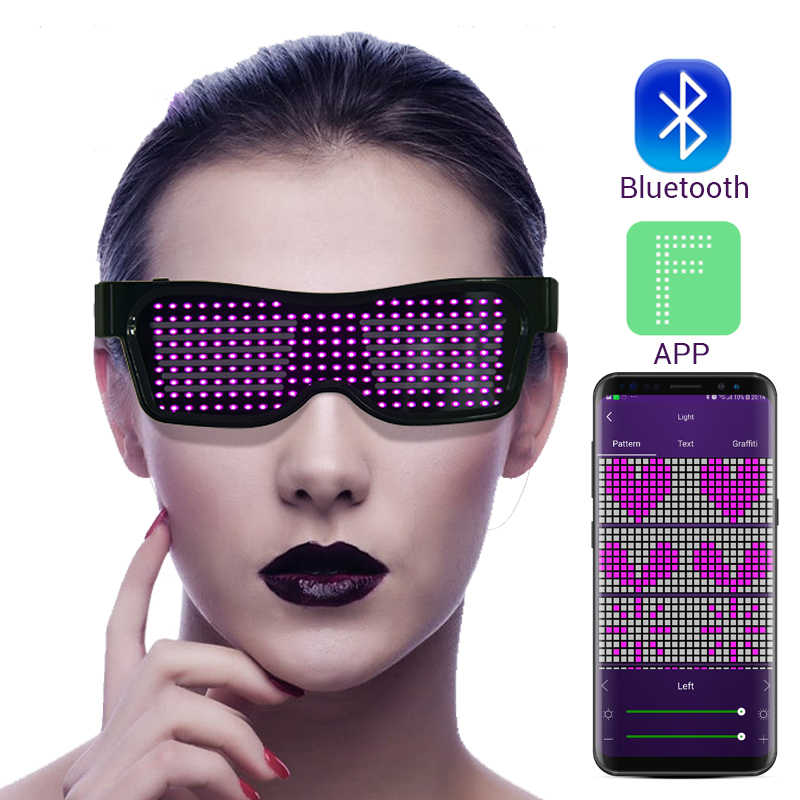 Magic Flash Led Party Bril App Bluetooth Control Shield Lichtgevende Glazen Usb Charge Dj Zonnebril Diy Concert Licht Speelgoed