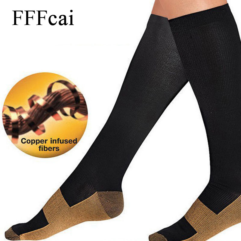 4a1f140b74f FFFcai 1 Pair Sport Sock Anti Fatigue Magic Compression Socks Women Men  Knee High Stockings Foot Pain Relief Soft Miracle Copper