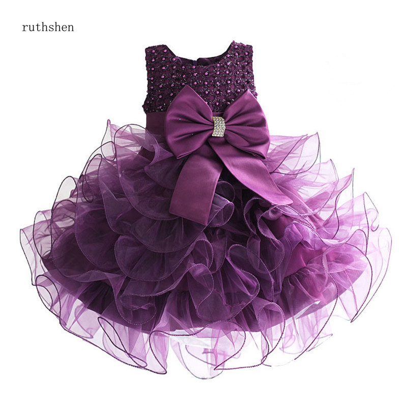 ruthshen Tiered Organza Sleeveless Lace   Flower     Girl     Dresses   A-line Purple Ivory Red Color For Little Kids Vestido De Daminha