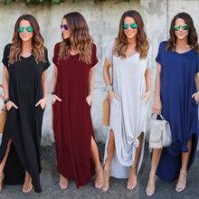 b9e206fe2e3d Vestidos de punto mujeres Casual manga corta Irregular vestido Maxi nuevo  verano más tamaño de algodón