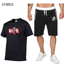 цена Captain America Tracksuit Men's Sets T Shirts+shorts Two piece suit New Cosplay Avengers Endgame Captain America Iron Man Sets онлайн в 2017 году