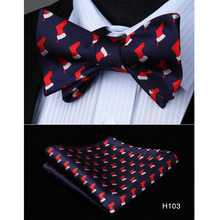Christmas Bow Tie Gifts For Men Bowtie And Handkerchief Set Silk Mens Accessories 2018 Designers Fashion Red Navy Black H10
