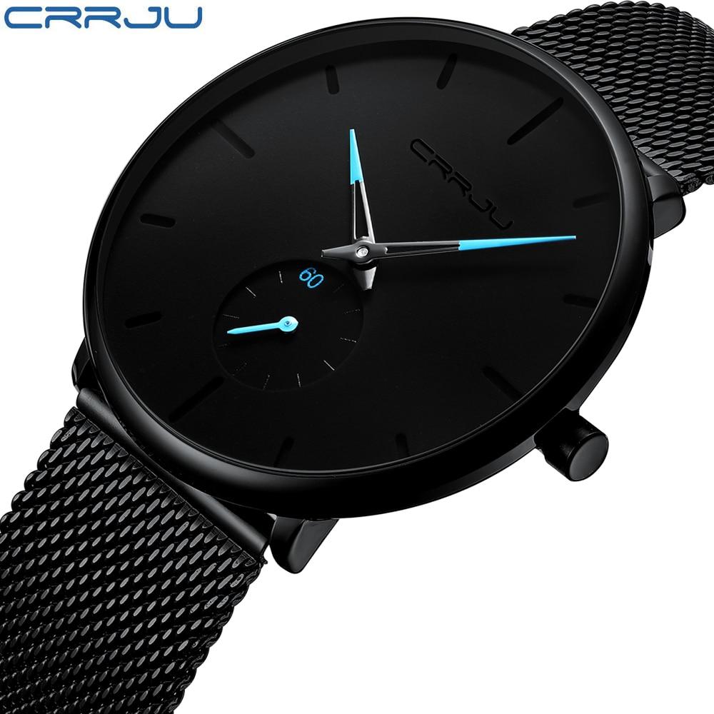 CRRJU de reloj de moda impermeable Slim correa de malla de minimalista muñeca relojes para hombres de cuarzo reloj deportivo reloj Relogio Masculino