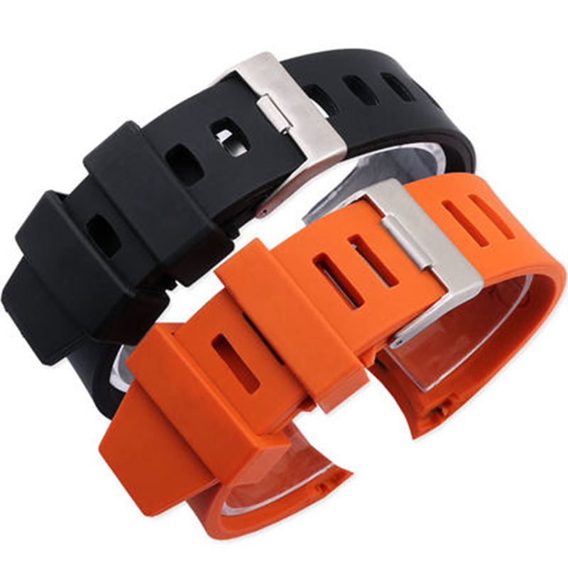 Image 2 - MERJUST 20mm 22mm Orange Black Rubber Strap Waterproof Diving Curved End Watchband for Omega Seamaster Planet Ocean Speedmaster-in Watchbands from Watches