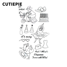 Fat Lady Dancing Transparent Clear Stamps for Scrapbooking DIY Silicone Seal Photo Album Decor Embossing Folder Template Sheets