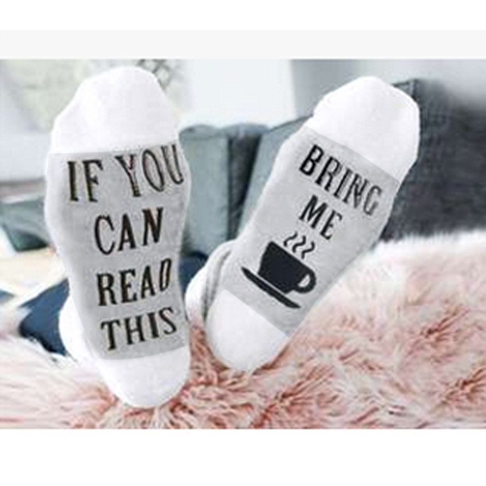 Socks   Funny Letter Print   Socks   If You Can Read This Bring Me Coffee   Socks   Casual Women Men Unisex Sokken Calcetines #N