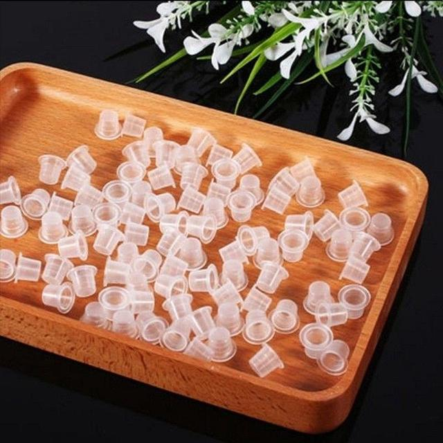 100PCS Disposable White Tattoo Pigments Cups Caps Permanent Makeup Ink Cups S/M Size 9/12 MM Tattoo Equipment Accessories
