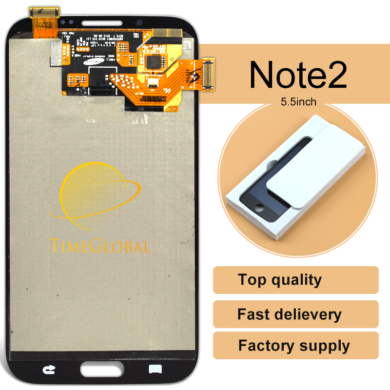 ФОТО 5pcs Grey/white LCD For Samsung Galaxy Note 2 N7100 lcd Display Touch Screen Digitizer Full Set Assembly, Free Shipping!