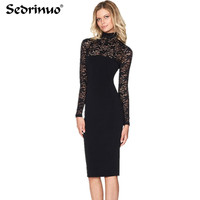 New Fashion Sexy Women Evening Lace Dress Long Sleeve Bodycon Dress Clubwear Female Party Dresses Black