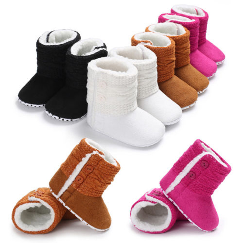 Pudcoco Newborn Baby Cute Winter Booties Sole Pram Shoes Warm Boot Crib Prewalker 0-18M