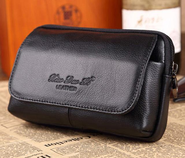 Homens novos do Couro Genuíno Real Do Couro Tampa Da Caixa de Telefone Celular Móvel bolsa da Moeda do bolso Cinto Hip Fanny Saco Da Cintura Pacote Pai Presente
