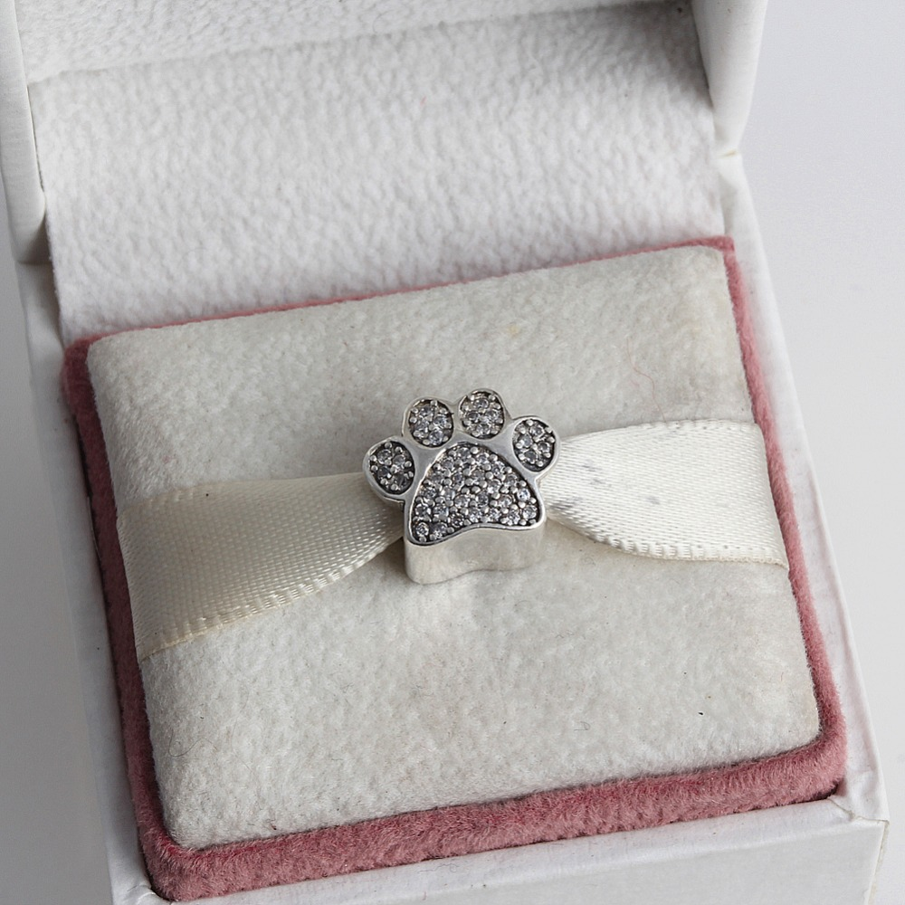 ZMZY Fashion 925 Sterling Silver Charm European Crystal Paw Beads Fit Pandora Bracelet Bangle Women DIY Jewelry
