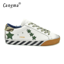 CANGMA Designer Shoes Men Luxury 2017 Genuine Leather Superstar Original Male Casual White Classic Shoes Chaussure Homme Marque