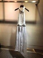 Новинка 2019 г. Дамская мода белый висит средства ухода за кожей шеи Элегантные пикантные женское платье 0325