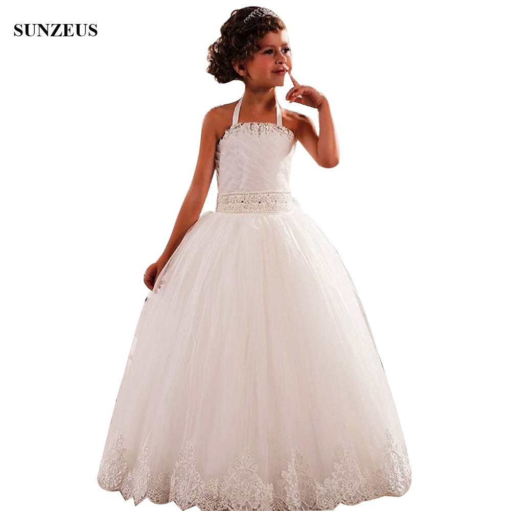 A-line Hater Neck Beaded Flower Girl Dresses Long Ivory Tulle Wedding Party Gowns With Lace Edge abito comunione FLG106