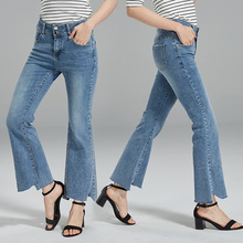 Brief Relate Slim Denim Jeans Woman Elastic Durable Washed Blue Boot Cut Bell Bottoms Ninth Length Mid Waist Casual Wear