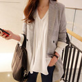 Fashion Women Blazers,Spring Casual Korean Slim Double-breasted Medium-Long Small suit